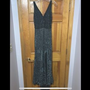 Silver/gray Beaded Gown or Prom Dress